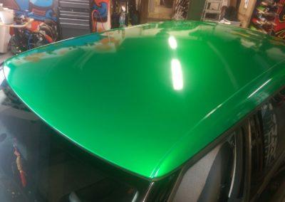 Skoda Fabia Teilfolierung Dach in grün metalic 1