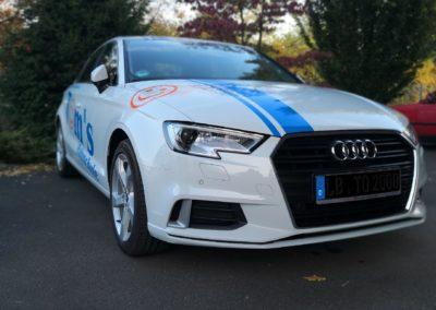 Tom's Fahrschule Werbebeklebung Audi A3 Lim. 1