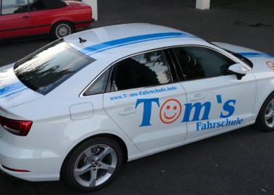 Tom's Fahrschule Werbebeklebung Audi A3 Lim. 3